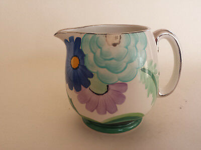 Susie Cooper style Art Deco Floral Grays Jug handpainted & gilded Pattern 9341