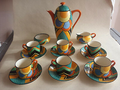 Rare Art Deco Grays Susie Cooper Geometric handpainted Coffee Set for 6