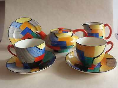 Iconic Art Deco Grays Susie Cooper Geometric 'Cubist' handpainted Part Set #8071