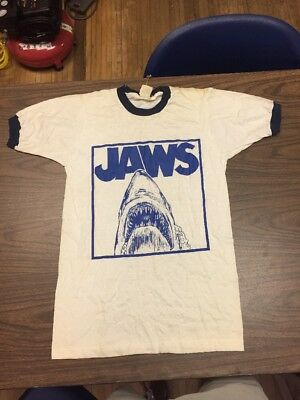 Vtgs 60s Pencil Thin Jaws Ringer Tee Size Small Usa Made