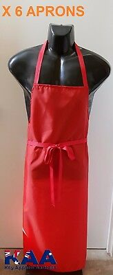 6 X Butchers Apron Red Cleaning/Butchers/Deli 105x80cm, Smoking, American BBQ
