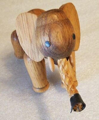 Unique Brown Wooden Beautiful Elephant with Tusks