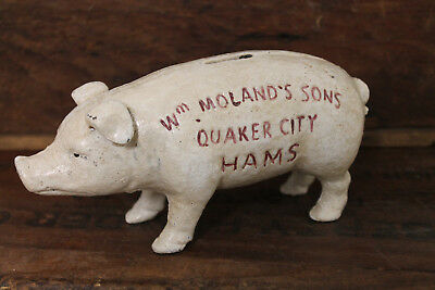 Vintage Style Cast Iron Wm Molands Sons Quaker City Hams Piggy Bank Advertising