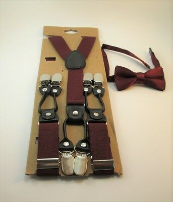 Maroon Suspenders with Matching Bow Tie