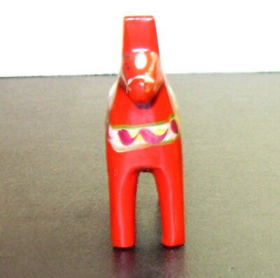 "Dala Horse Swedish 3"" Vitg.by Nils Olsson, Sweden red orange Dala Style painting"