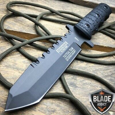 """9"""" Full Tang Tactical Hunting Survival Knife w/ Sheath Military Bowie Combat-M"""