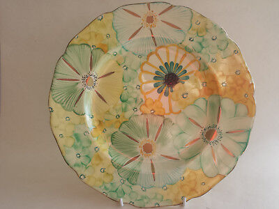 Art Deco Grays scalloped edge A4191 Large Plate All Over Hand Painted & Gilded
