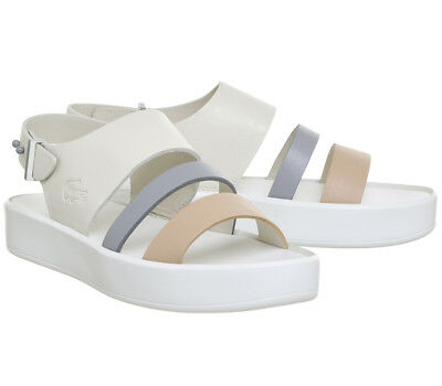 15d88b972 Lacoste Pirle Sandal 217 1 Off White US Size 9 - FREE SHIPPING PURPLE WHITE  OPEN