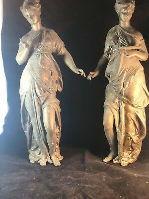 pair neoclassic spelter maiden statues 1880