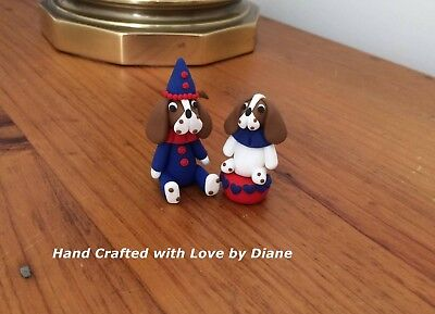 Miniature Hand Crafted Polymer Clay Clown Basset Hound -  2 Circus Figurines