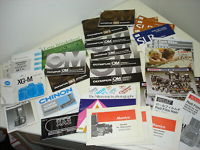 Lot of 38 Camera & accessories manuals instructions Mamiya Olympus Canon Minolta