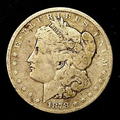 1878 P ~**1ST YEAR ISSUE**~ Silver Morgan Dollar Rare US Old Antique Coin! #242