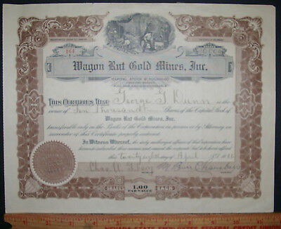 Wagon Rut Gold Mines Inc Stock Certificate 1926 Deleware 10000 Shares