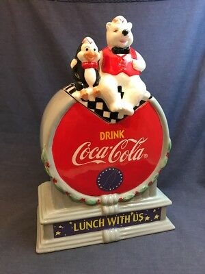 Vintage Ceramic COCA COLA Cookie Jar Canister Lunch With Us Christmas Polar