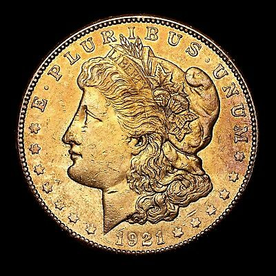 1921 S ~**ABOUT UNCIRCULATED AU**~ Silver Morgan Dollar Rare US Old Coin! #135