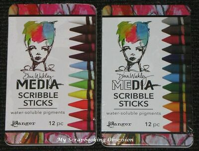 Ranger Dina Wakley Media 'SCRIBBLE STICKS' 12pc Water Soluble (You Choose)
