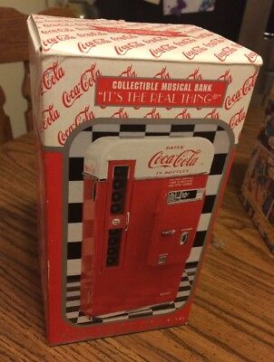 Enesco 1994 Coca Cola VENDING MACHINE Die Cast Metal Musical Bank It's The Real