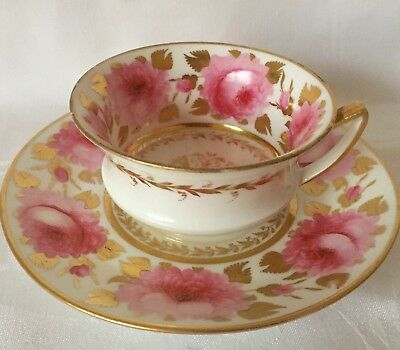 c1815 DAVENPORT LONGPORT STAFFORDSHIRE PINK CABBAGE ROSE CABINET CUP SAUCER, 730
