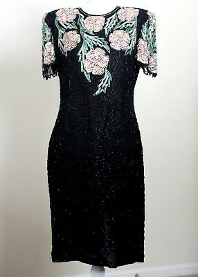 SCALA Vintage Womens Formal Evening Dress Size M 100% Pure Silk, Sequins, Beaded