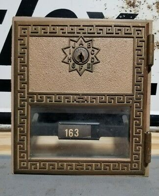 "Vintage Large Brass Post Office Box Door -  Size 6"" x 5 1/2"" #163"