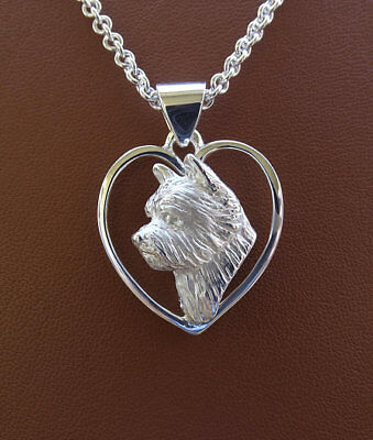 Sterling Silver Norwich Terrier Head Study On A Heart Pendant
