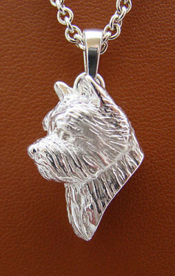 Sterling Silver Norwich Terrier Head Study Pendant