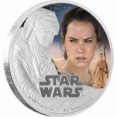 STAR-WARS-THE-FORCE-AWAKENS-Rey-1-OZ-SILVER-PROOF-COIN-OGP-COA-NEW