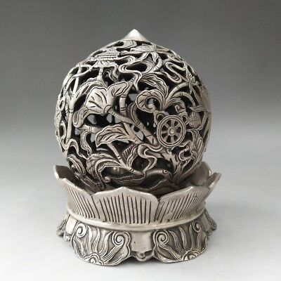 Chinese Tibetan Silver Hand-Carved Lotus Pattern Hollowed-Out Incense Burner
