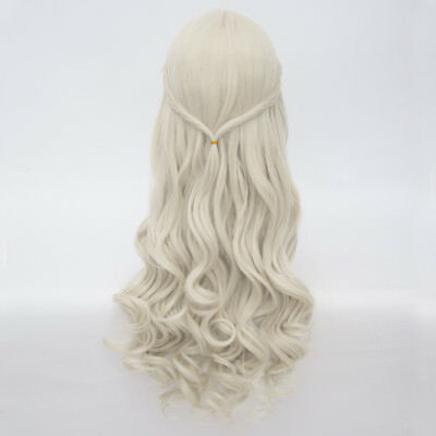 For Costume Vogue White Queen Light Blonde Long 65CM Curly Cosplay Wig