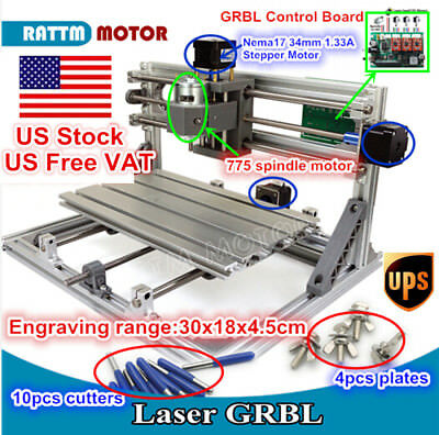 【USA】3 Axis Mini DIY GRBL Control 3018 CNC Router Milling Engraver Laser Machine