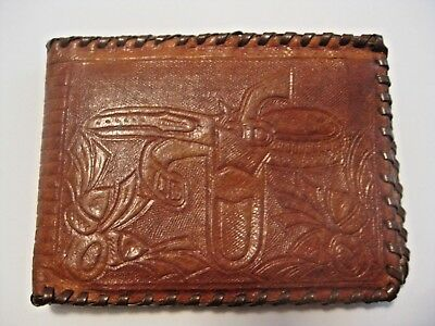 Vintage Children's Leather Cowboy & Horse Wallet Billfold With Coin Purse Inside