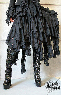 Punk Rave Asymmetric Black Layered Tattered Skirt Gothic Victorian Witchy Q-079