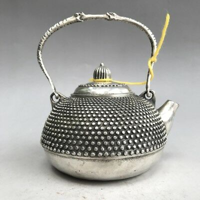Distinctive China's Tibet Silver Pure Hand-Carved  Teapot  Boutique