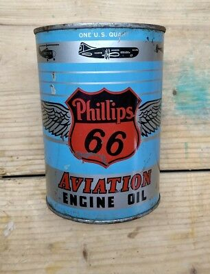 Vintage Oil Can PHILLIPS 66 AVIATION MOTOR OIL ** FULL ** Metal Can