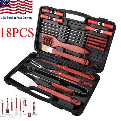 BBQ Tools Set 18-pcs Kit Case Stainless Steel Grill Cooking Outdoor Utensils US