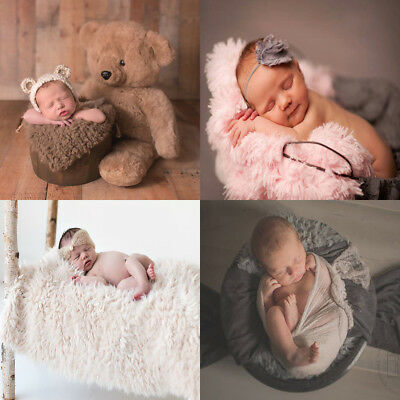Newborn Infant Babys Soft Faux Fur Blanket Rug Mat Photography Photo Props UK
