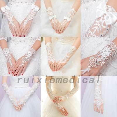 Sexy Bride Party Dress Fingerless Pearl Lace Bridal Wedding Gloves Fingerless US