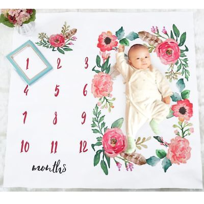 Photography Backdrop Newborn Baby Blanket Flowers Numbers Photo Prop Monthly