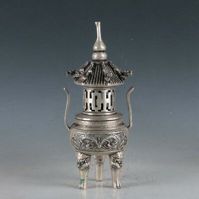 Chinese Silvering Copper Dragon Incense Burner Made During The Qianlong Period