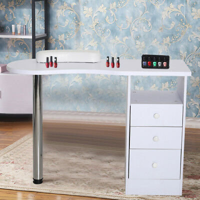 Beauty Nail Care Manicure Table Salon Workstation Drawers Storage Steel Bar Desk