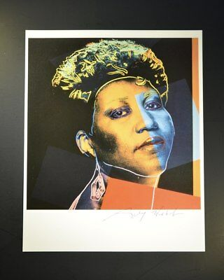 """Andy Warhol, """"Aretha Franklin"""", Colorful Print from VIP Book. Hand signed w/ COA"""