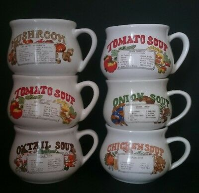 Vintage / Retro 6 Soup mugs broth with recipes and handles.