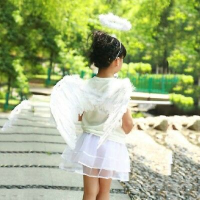 Feather Angel Fairy Wings and Halo Wand Halloween Fancy Dress Gothic Black White