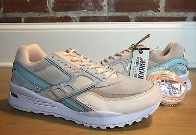 Brooks X Pink Dolphin Tsunami Regent Cream Turquoise Size 8