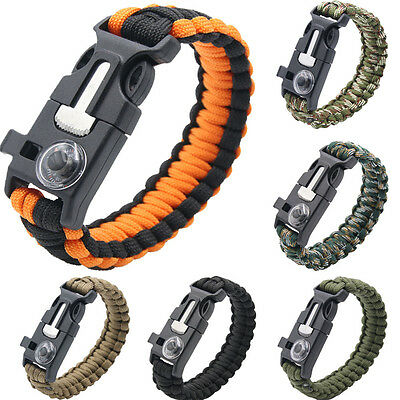 Paracord Pulsera de Supervivencia Termómetro Silbato Pedernal Mechero Cuerda Kit