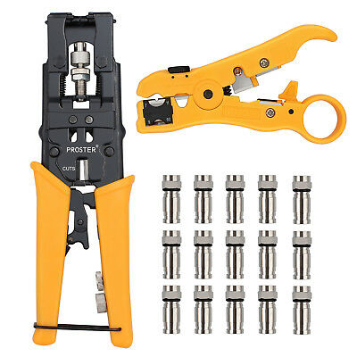 Waterproof Connector Crimping Tool Kit+Coaxial & Network Cable Stripper For RG59