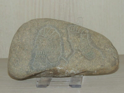 Antique Assyrian Style Stone Fragment With Graffiti,drawings On Relief