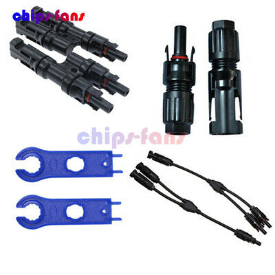 1Pair 2PCS MC4 Y/T Type Solar Panel Cable Adapter Male Female Wrench Connector
