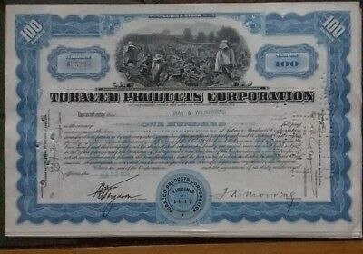 Stock Certificate Tobacco Products Corporation
