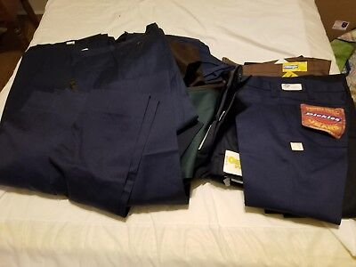 Lot of 38 Men's work pants multiple sizes size all new unused blue brown grey